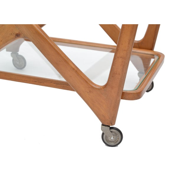 Wood Cesare Lacca Wooden Bar Cart for Cassina, Italy For Sale - Image 7 of 8