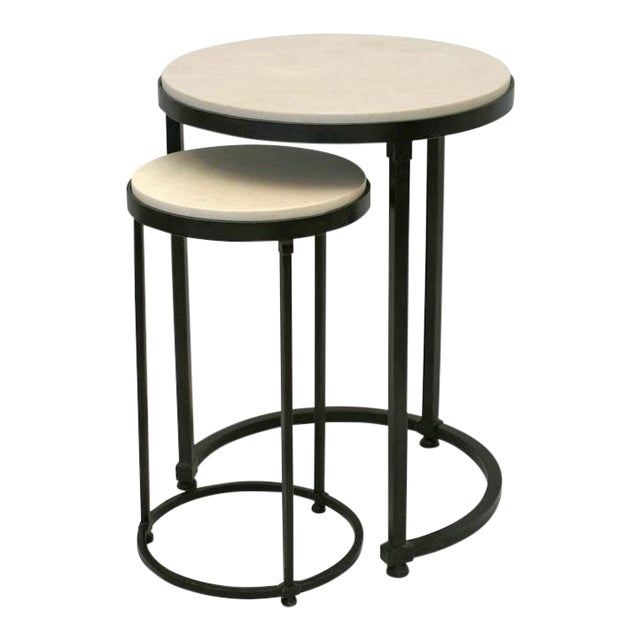 Circular Iron Table With Nesting Drinks Table, Bk Limited Edition For Sale