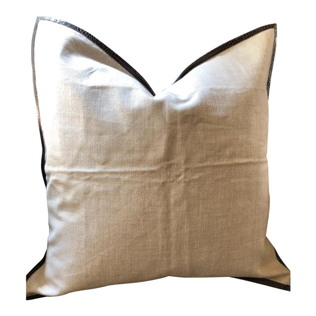 Ankasa Linen 'Crosby' Pillow Cover With Leather Trim For Sale