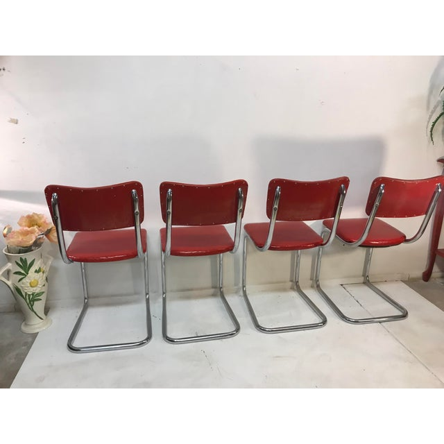 Weiman/Warren Lloyd Mid Century Tubular Chrome Red Lloyd Cavalier Dining Chairs - Set of 4 For Sale - Image 4 of 8