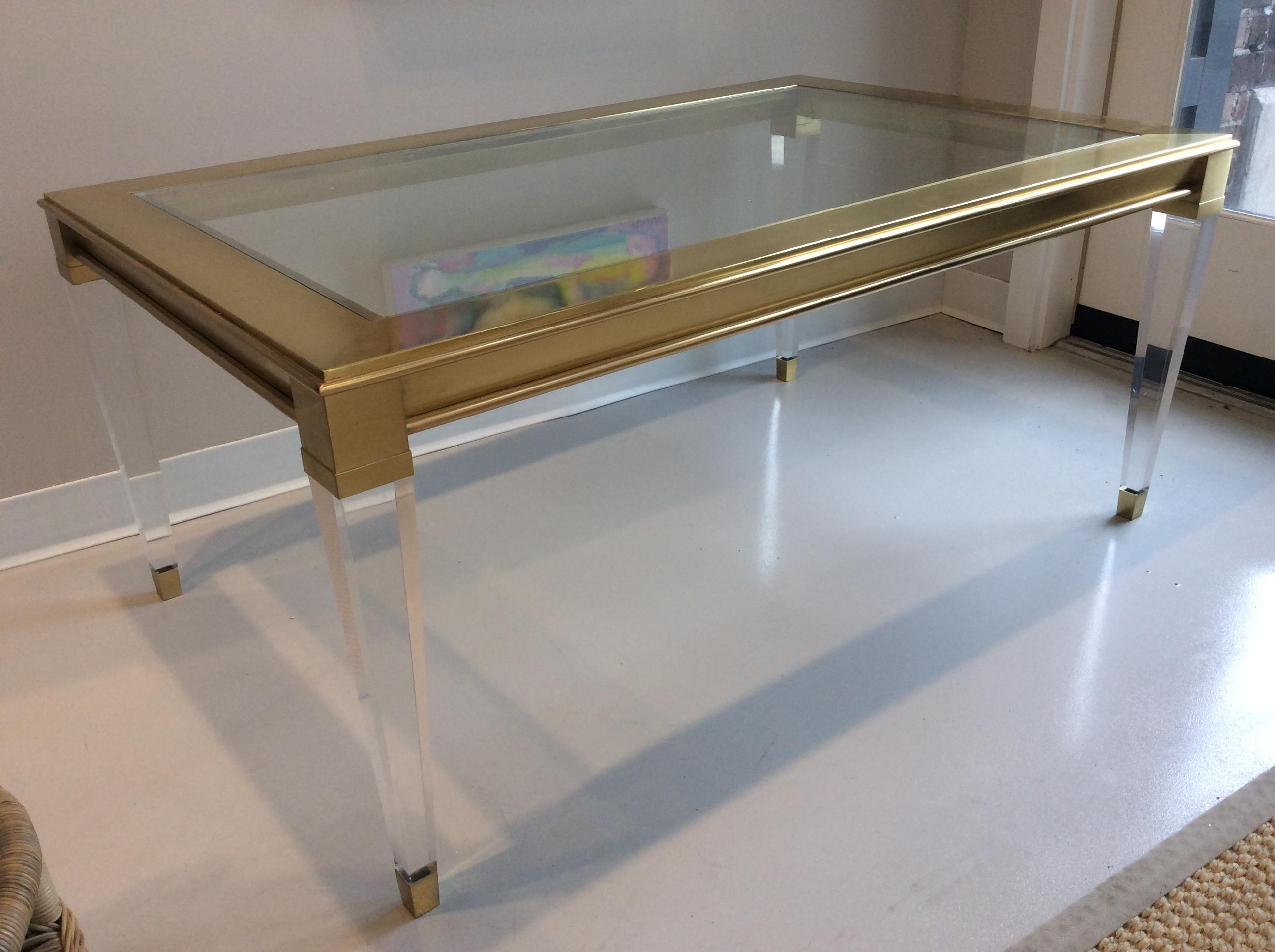 2010s Modern History Home Soho Brass And Lucite Cocktail Table For Sale    Image 5 Of
