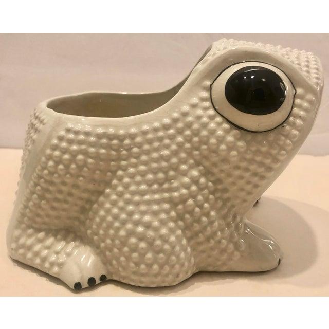 Italian Ceramic Frog Planter For Sale - Image 4 of 9