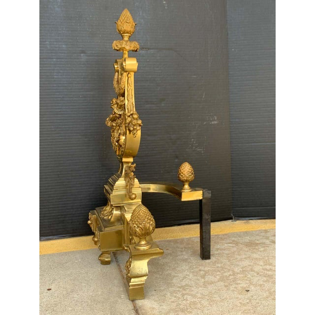Gorgeous Pair of Louis XVI Style Gilt Bronze Lyre Motif Chenets, Large Scale For Sale - Image 11 of 13