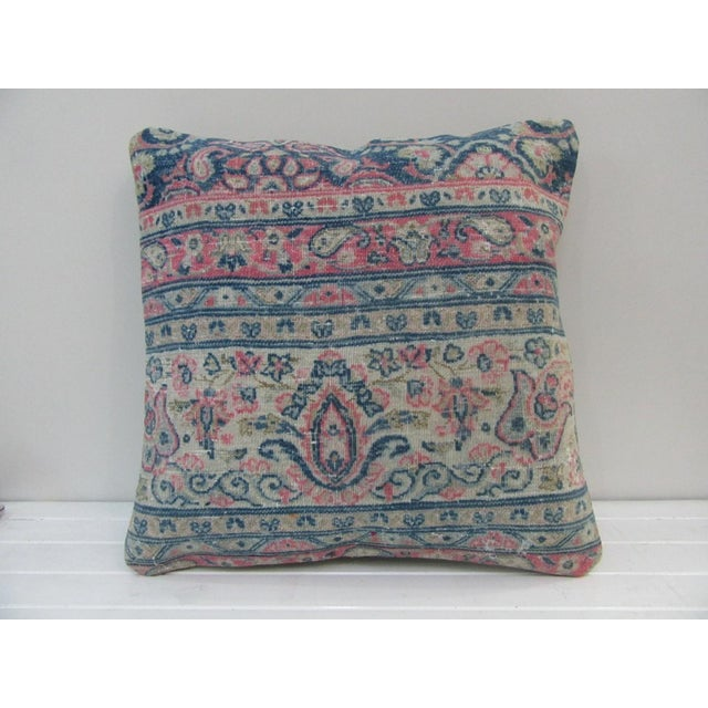 Vintage Pink and Blue Turkish Kilim Pillow Cover For Sale - Image 4 of 4
