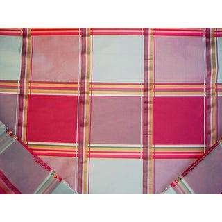 Traditional Mulberry Lee Jofa Rio Taffeta Check Raspberry Aqua Silk Upholstery Fabric - 3-1/2y For Sale