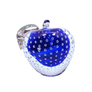 1990s Contemporary Cobalt Crystal Apple with Controlled Bubbles For Sale