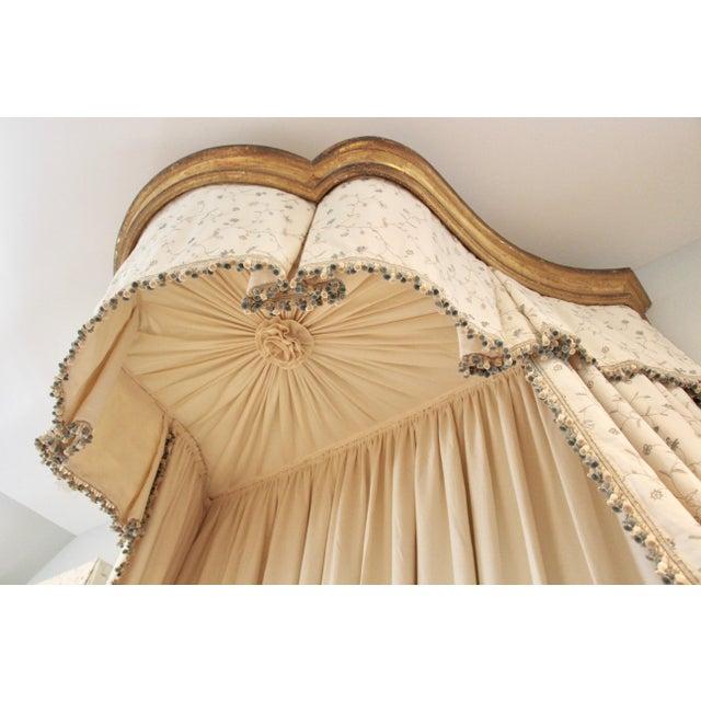 Blue Italian Giltwood Bed Corona W/ Draperies For Sale - Image 8 of 12