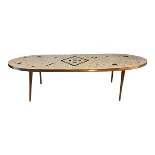 Mid Century Oval Tile Coffee Table For Sale