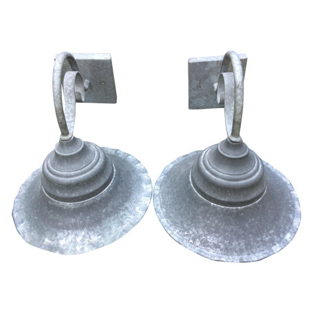 Vintage Smith and Hawken Galvanized Sconces - Pair - Image 1 of 8