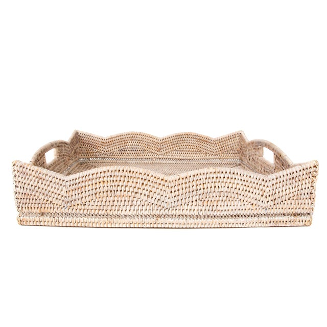 Boho Chic Artifacts Rattan Scallop Collection Square Tray For Sale - Image 3 of 6