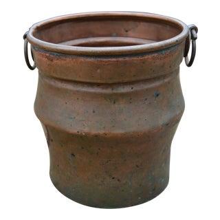 Rustic Patina Copper Vessel For Sale