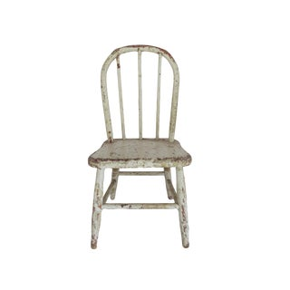 Vintage White Wooden Children's Chair Seat For Sale