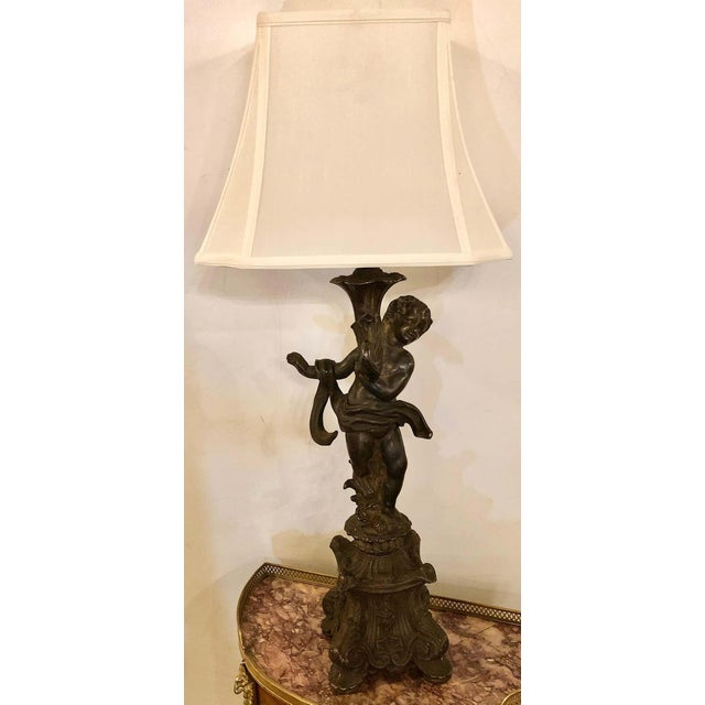 Bronze Patinated Putti Table Lamps - a Pair For Sale - Image 4 of 12