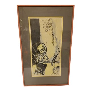 Mid Century Original Print, Young Boy With Flute, Woodcut European For Sale