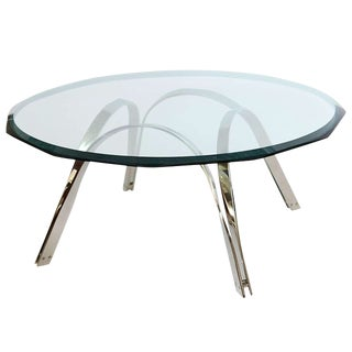 Roger Sprunger Style Sculptural Silver/Glass Cocktail Table