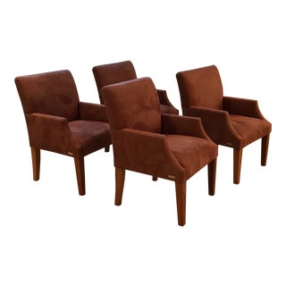 UltraSuede Ralph Lauren Dining Chairs - Set of 4 For Sale