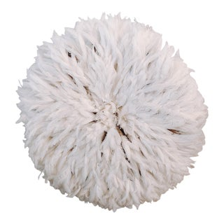 African White Feather Juju Hat Wall Hanging For Sale