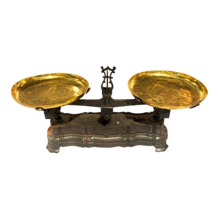 Antique French Brass and Cast Iron Kilo Scale by Force Inc., Circa 1910 - Set of 3 For Sale
