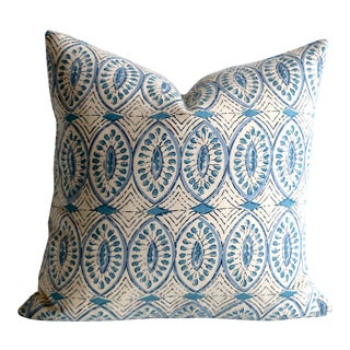 Aqua Block Print Pillow Cover 16x16 For Sale