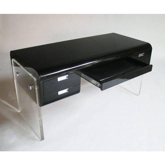 1970s Pace Floating Desk on Lucite Frame For Sale - Image 5 of 10