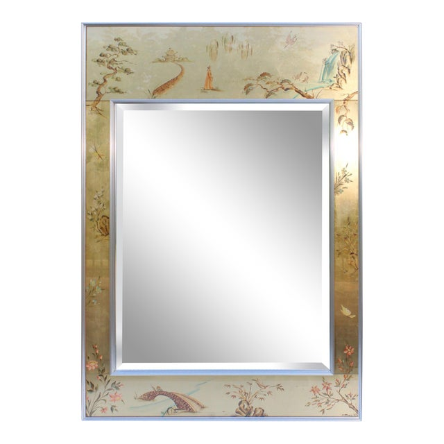 La Barge Mid-Century Modern Hand Painted Chinoiserie Mirror For Sale