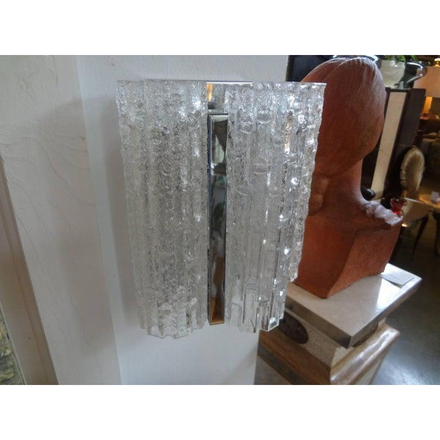 Mid-Century Modern Vintage Venini Style Murano Glass and Chrome Sconces-A Pair For Sale - Image 3 of 9