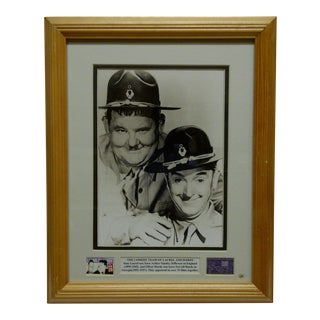 "Vintage Framed & Matted ""Comedy Team of Laurel and Hardy"" Multi-Media Collage For Sale"