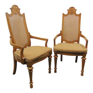 Mid 20th Century Louis XVI Style Fruitwood Carved Arm Chairs - a Pair For Sale
