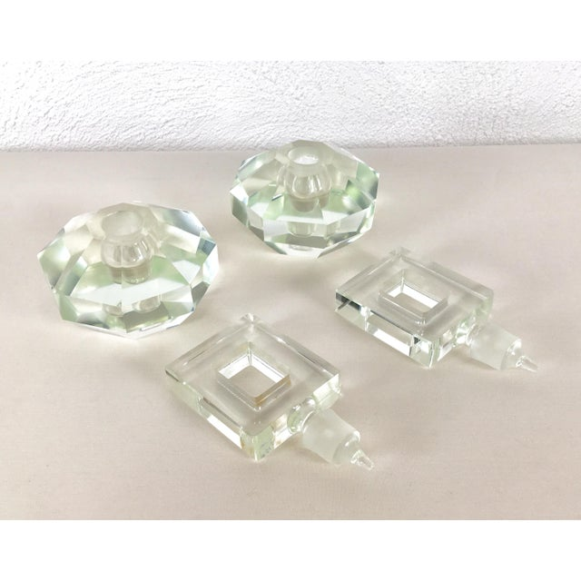 Hand Cut Crystal Perfume Bottles – a Pair For Sale - Image 4 of 9