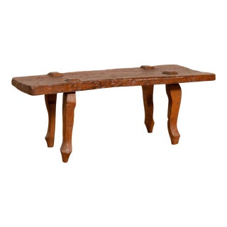 Rustic Javanese Freeform Low Bench Made of Antique Reclaimed Teak Textured Wood For Sale