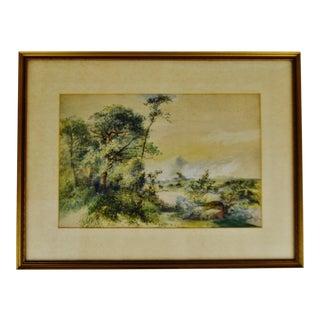 Antique Framed Watercolor Massachusetts Landscape Scene - Artist Signed For Sale