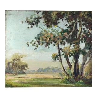 Antique Oil Painting Impressionist Landscape Unframed For Sale