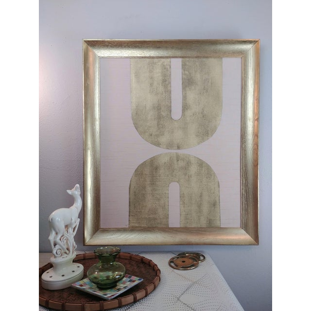 Panton Style Pink + Gold Framed Collage is a beautiful Palladian design in soft pink vintage shantung fabric background...