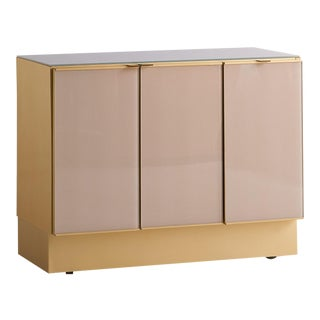 Modern Ello Brushed Brass Glass Top Credenza Cabinet For Sale