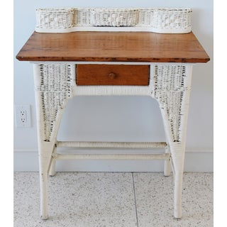 Antique Painted Wicker & Oak Writing Desk Table Preview