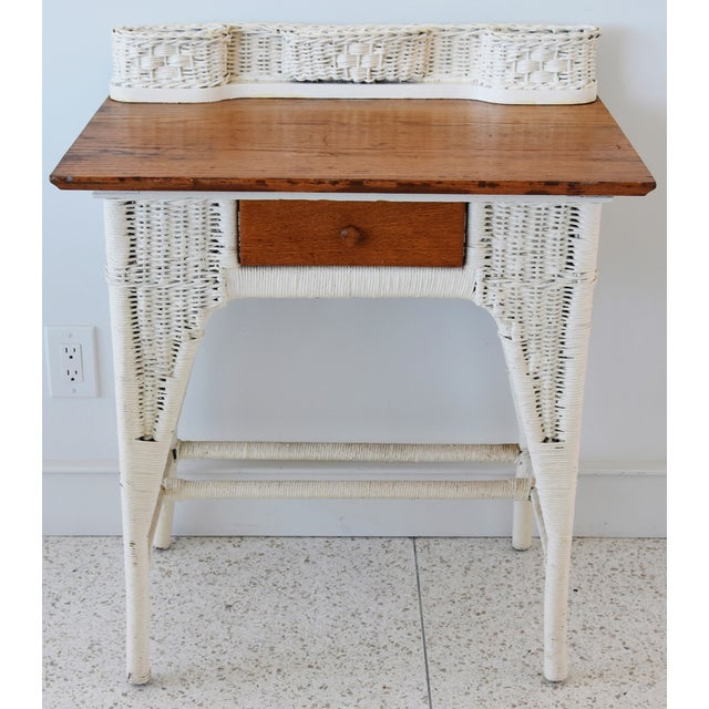 Antique white painted wicker and golden oak writing desk with center  drawer. Sturdy and functional - Antique Painted Wicker & Oak Writing Desk Table Chairish