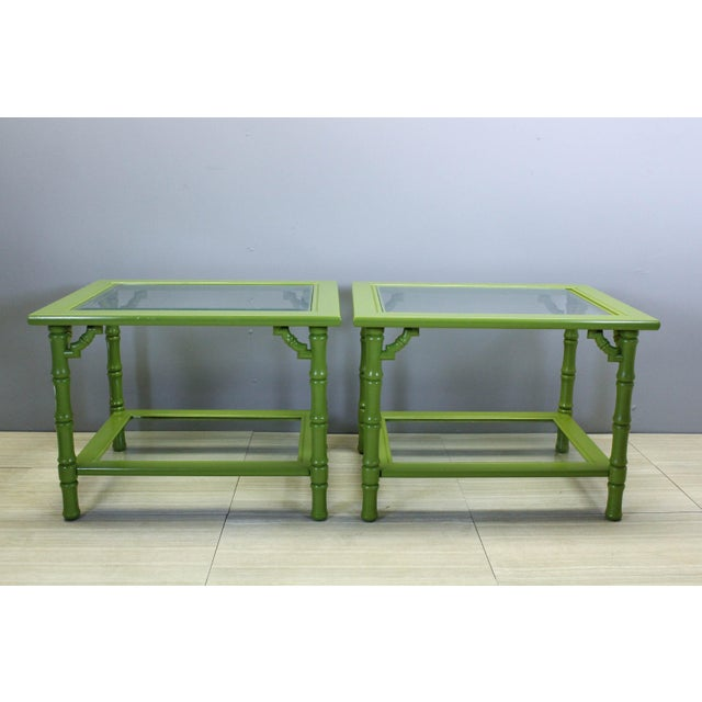 Wood Green Lacquered Side Tables - A Pair For Sale - Image 7 of 9