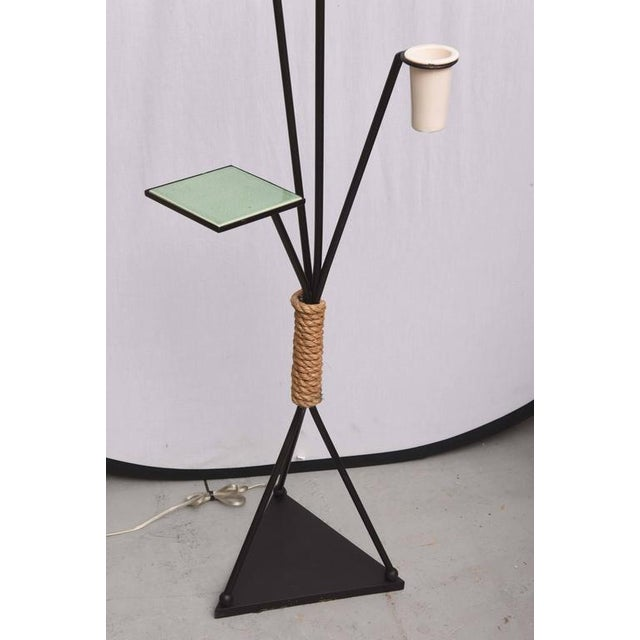 Italian Pair of Italian Iron and Aluminum Floor Lamps With Shelf & Bud Vase, Italy For Sale - Image 3 of 11