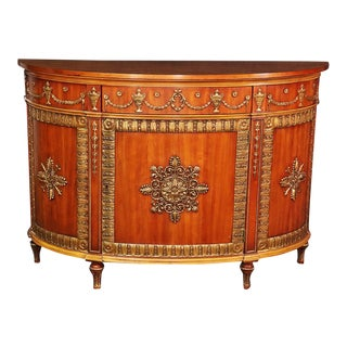 Carved & Gilded John Widdicomb Walnut Demilune Commode For Sale