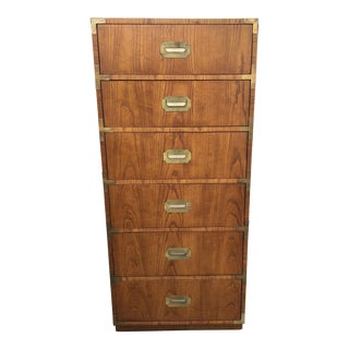 1970s Danish Modern Dixie Campaign Tall Dresser For Sale