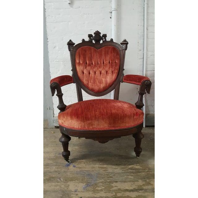 Antique Eastlake Heart-Back Red Velvet Settee & Chairs- Set of 3 - Image 5 of 9