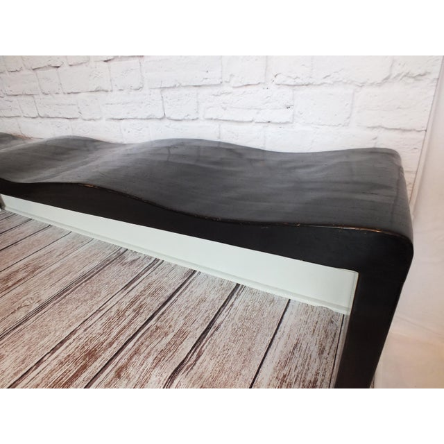 Vintage Wave Bench in Black Lacquer - Image 4 of 11