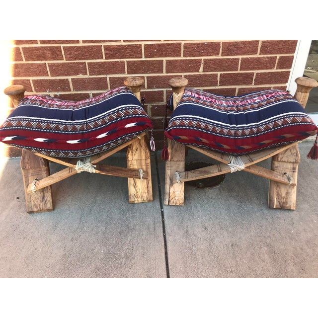 Modern Wooden Camel Saddle Benches- A Pair For Sale - Image 10 of 10