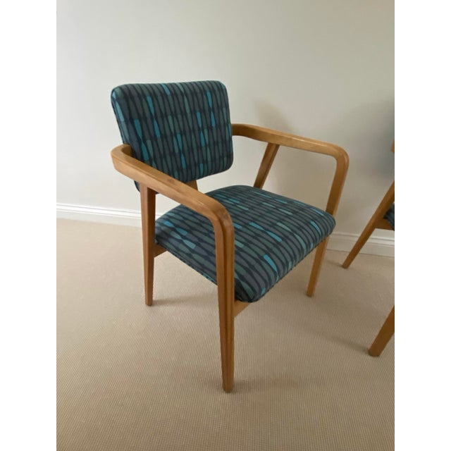 1950s 1950s Mid-Century Modern Walnut Upholstered Arm Chairs - a Pair For Sale - Image 5 of 13