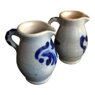 Hand-Thrown Small Rustic French Pitchers - a Pair For Sale