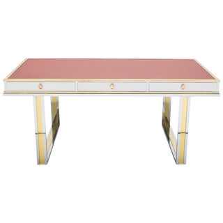 Unique French Desk White Lacquer Brass Red Leather by Atelier La Boetie, 1974 For Sale