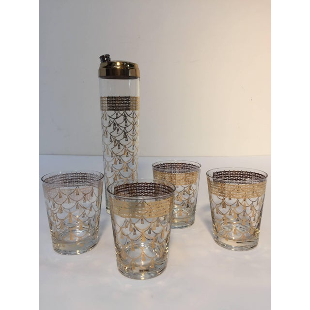 Vintage Cocktail Set of Midcentury Barware Glasses With Cocktail Shaker For Sale - Image 10 of 10