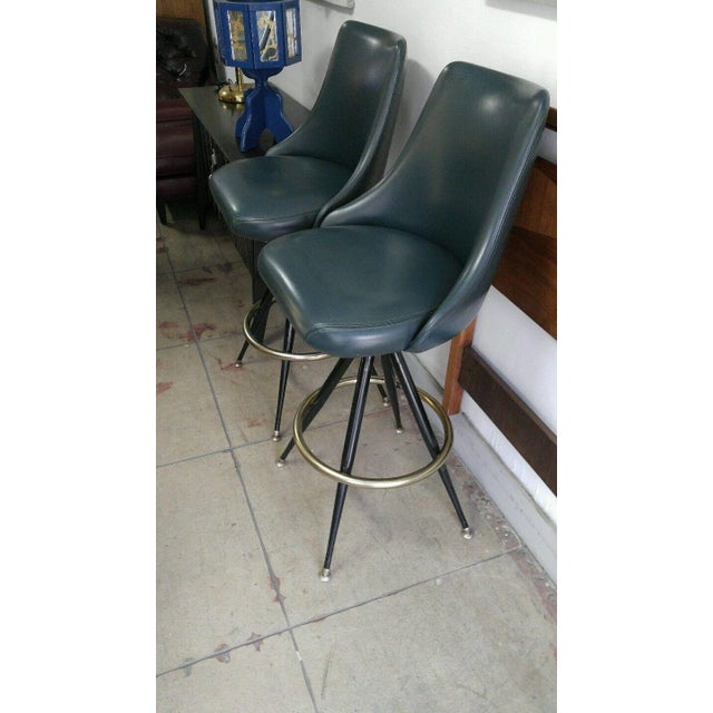 Metal Mid-Century Brass & Leatherette Swivel Bar Stools - a Pair For Sale - Image 7 of 10