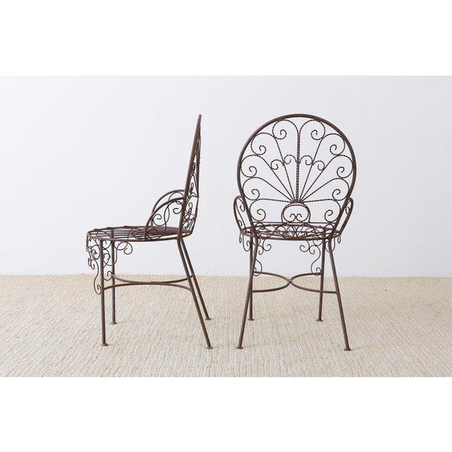 Mid 20th Century Salterini Style Iron Fan Back Garden Patio Chairs For Sale - Image 5 of 13