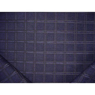 Osborne and Little Bavul Navy Chenille Upholstery Fabric - 10-1/4 Yards For Sale